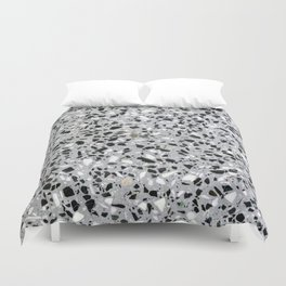 Concrete terrazzo marble texture speckle pattern gray Duvet Cover