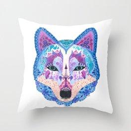 Henna Wolf Throw Pillow