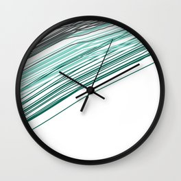 Green & Grey stripe Wall Clock