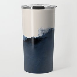 Abstract, blue, beige, indigo Travel Mug