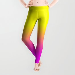Neon Yellow and Bright Hot Pink Ombré  Shade Color Fade Leggings