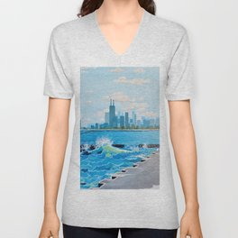City on the Lake Unisex V-Neck