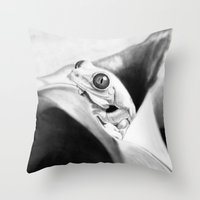 frog Throw Pillows featuring Frog by donotseemeart