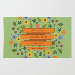 Maya Angelou Floral Inspirational Quote Rug