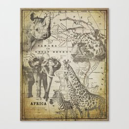 Out of Africa vintage wildlife art Canvas Print