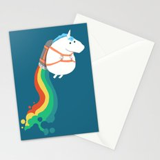 Fat Unicorn on Rainbow Jetpack Stationery Cards