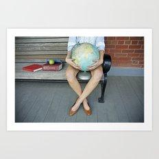World in her hands Art Print