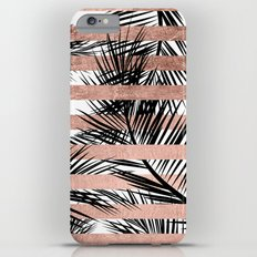 Trendy tropical palm trees chic rose gold stripes Slim Case iPhone 6s Plus