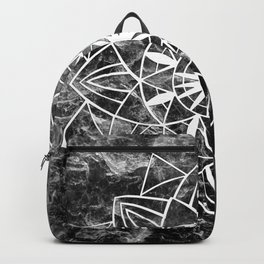 Star Mandala on Enigmatic Black Marble #1 #decor #art #society6 Backpack