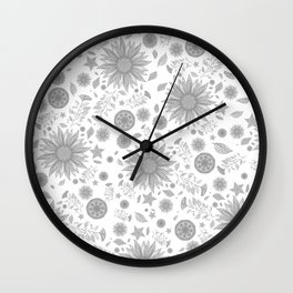 Beautiful Flowers in Faded Gray Black and White Vintage Floral Design Wall Clock