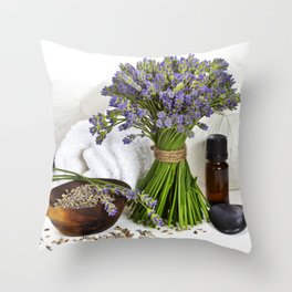 lavender spa (fresh lavender flowers, towel, essential oil, pebbles, Herbal massage balls) over whit Throw Pillow