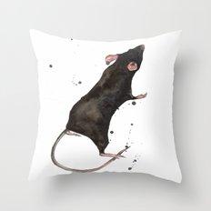 Rat, rodent painting, black rat, ratty, watercolor rat, rat pillow cover Throw Pillow