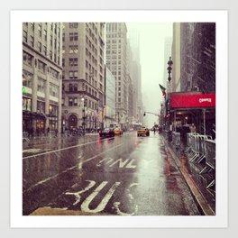 nyc street rain Art Print