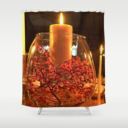 Glass Bowl Candle Decor Shower Curtain