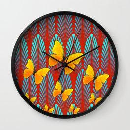 YELLOW ART DECO BUTTERFLIES & CUMIN COLOR ART Wall Clock