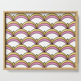 Pink and Gold Art Deco Pattern Serving Tray