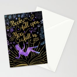 Books Fall Open - Gold Stationery Cards