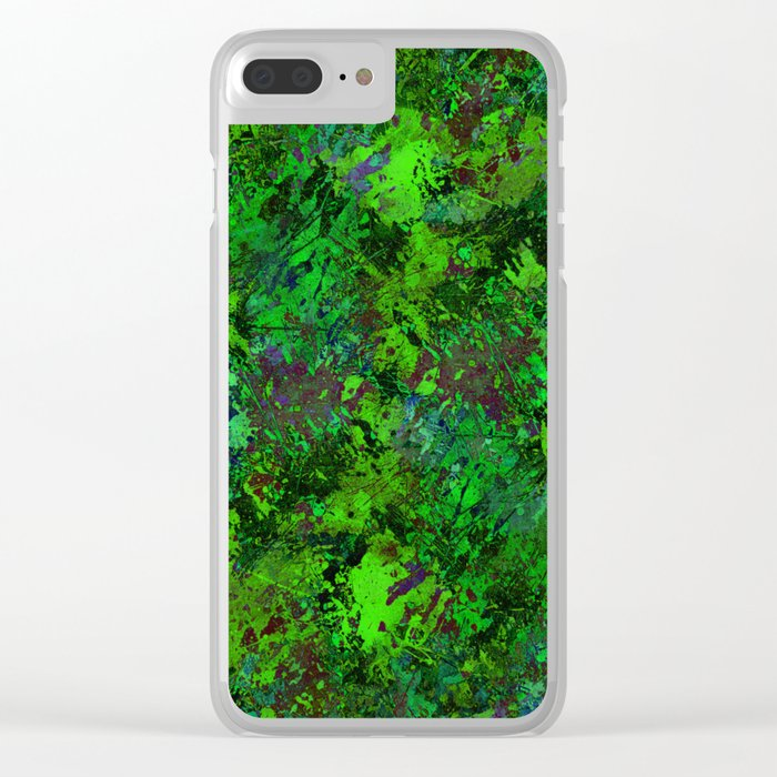 Lost In The Jungle - Abstract, green, jungle, foliage, leaves, forest themed artwork Clear iPhone Case