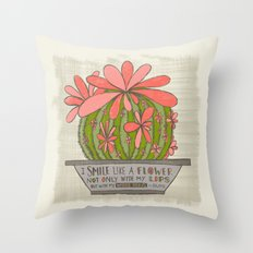 I Smile Like a Flower Not Only With My Lips But With My Whole Being (Grow Free Series) Throw Pillow