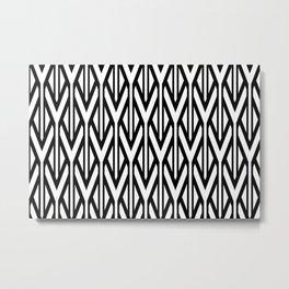 triangles white black geometric stripes Metal Print