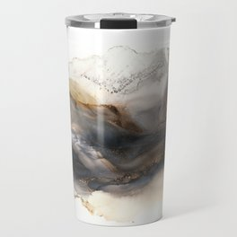 Iron Mountain - abstract landscape, watercolor, alcohol ink, brown gray neutrals Travel Mug