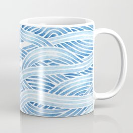 Blue sailboat, watercolor nautical ocean waves sea Coffee Mug