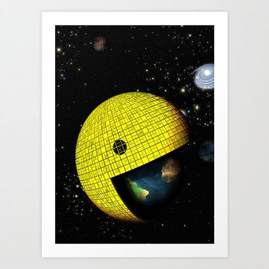 Pacman Eating the World Art Print