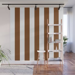 Russet brown - solid color - white vertical lines pattern Wall Mural