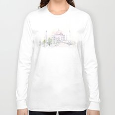 Watercolor landscape illustration_India - Taj Mahal Long Sleeve T-shirt