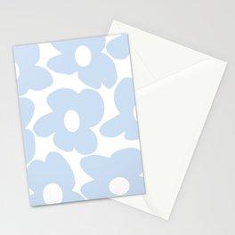 Large Baby Blue Retro Flowers White Background #decor #society6 #buyart Stationery Cards