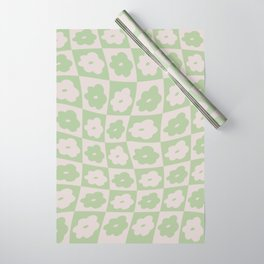 Retro Wavy Check Floral - Lilac + Sage Wrapping Paper