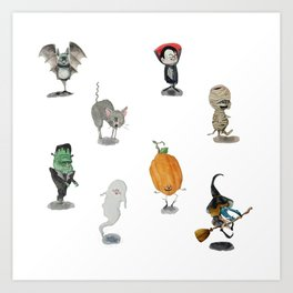 The Spooky Bunch Art Print