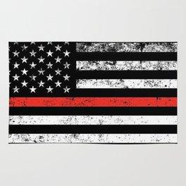 Firefighter Red Line American Flag Rug
