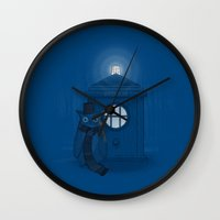dr who Wall Clocks featuring Dr Who Who? by Quick Brown Fox