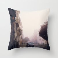 brussels Throw Pillows featuring MISTY BRUSSELS by Louisa Rogers