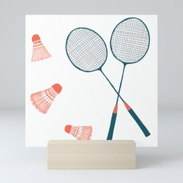 Vintage Badminton Print in blue and red Mini Art Print