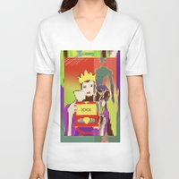 queen V-neck T-shirts featuring Queen by Alec Goss