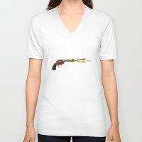 gun V-neck T-shirts featuring Gun by Steve Mac