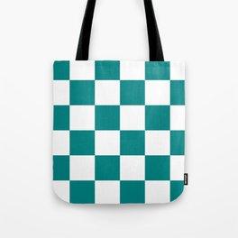 Large Checkered - White and Dark Cyan Tote Bag