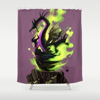 maleficent Shower Curtains featuring Maleficent by Jennifer Ely