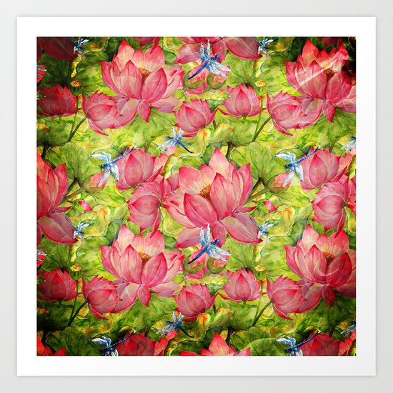 Floral Lotus Flowers Pattern with Dragonfly Art Print