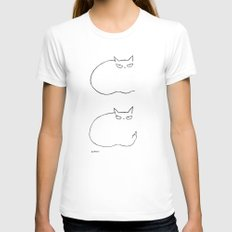cat MEDIUM Womens Fitted Tee White
