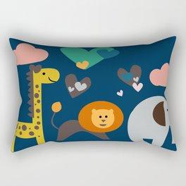 Jungle Run Blue Rectangular Pillow