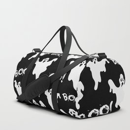 Cool black white ghost halloween boo typography Duffle Bag