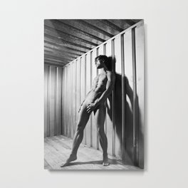 Man Naked in dirty industrial container #A9202 Metal Print
