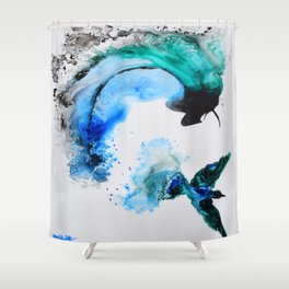 Humming Bird with a Splash Shower Curtain