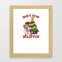 Don't stop believin' Unicorn dabbing Christmas Tree Framed Art Print