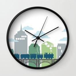 Greens/Blues Train Wall Clock