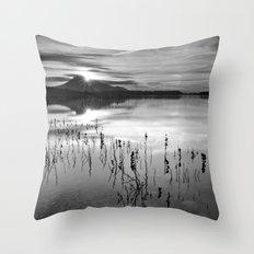 Calm At The Lake. At sunset.. Bw Throw Pillow