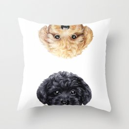 Toy poodle Blond & Black Throw Pillow